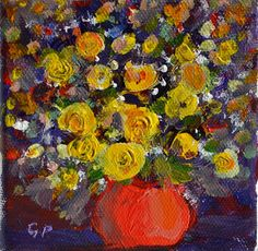 Original acrylic painting  Yellow flowes on 4 X 4 by garimadesigns