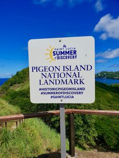 Saint Lucia Summer of Discovery sign at Pigeon Island National Landmark. Sea Trek, National Landmarks, Saint Lucia, Adventure Of The Seas, Sustainable Tourism, Amazing Destinations, Pigeon, Discovery, Caribbean