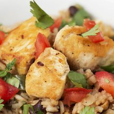 One-Pot Cilantro Lime Chicken & Rice Recipe by Tasty — made - delicious and relatively easy Chicken Rice Recipes, Mexican Food Recipes, Recipe Chicken, Healthy Drinks, Healthy Eating, Healthy Recipes, Healthy Food, Cilantro Lime Chicken, Orange Chicken