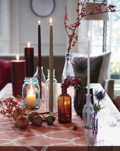 use a glass vase and insert a pillar candle, OR find other unique ways to add some warm, candle light!