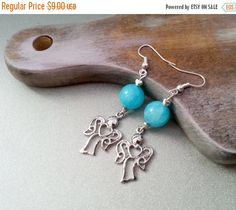 XMAS SALE black friday Blue angels with hearts earrings delicate blue jade gift idea, gift for her love Heart Earrings, Beaded Earrings, Beaded Jewelry, Blue Angels, Gifts For Her, Delicate, Jewelry Making, Pendants, November 2015