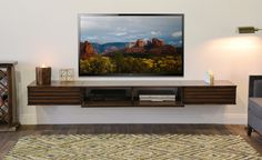 Floating TV Stand - Lotus 3 Piece - Russet Brown