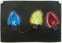Art with Ms. Colored value holiday lights using oil pastel and yarn. Christmas Art Projects, Winter Art Projects, School Art Projects, Third Grade Art, Oil Pastel Art, Art Lessons Elementary, Chalk Pastels, Teaching Art, Teaching Ideas