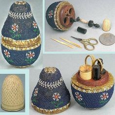 This is a child's etui from 1860s. It was made in France and features a pear-shaped wooden form covered in beads.  Needlework tools, boxes and etuis were favourite gifts for girls as it was felt that these kinds of gifts fostered industriousness. Image courtesy of Elegant Arts Antiques.