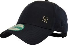 New Era 9Forty Flawless Logo Baseball Cap. Navy, with the small NY logo, the tonal New Era side logo, and Curved Visor. Adjustable rear slide strap. Size range