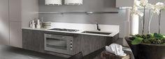 Cocina suspendida Acabados: Vidrio al ácido y estratificado madera. Double Vanity, Bathroom, Kitchen, Design, Minimalist, Glass, Wood, Washroom, Cooking