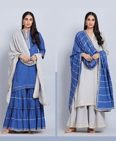 Beautiful Mul-Silk dupattas with beautiful dresses. Ethnic Trends, Indian Fashion Trends, Ethenic Wear, Fancy Suit, Pakistani Couture, Desi Wear, Desi Clothes, Kurta Designs, Indian Ethnic Wear