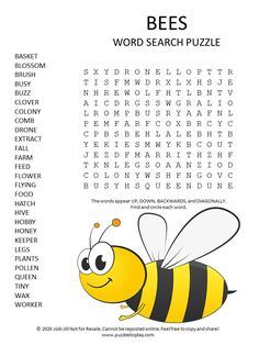 Bees Word Search Puzzle - Puzzles to Play