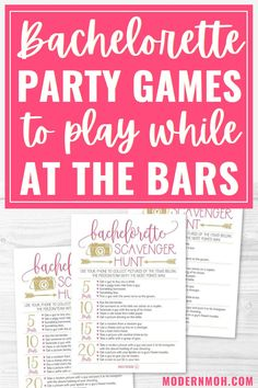 Check out our five favorite bachelorette party games to play while out at the bars! #bachelorettepartygames #bachelorettepartybargames #ModernMOH Bachelorette Dares, Bachelorette Party Scavenger Hunt, Bachelorette Party Planning, Bar Games, Games To Play, Funny Drinking Games, Truth Or Dare Games, Scratch Off Cards