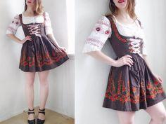 Vintage Dirndl Dress SHORT German brown Balconette Embroidered roses florals German Folk Traditional Oktoberfest brown Cute Milkmaid/ M