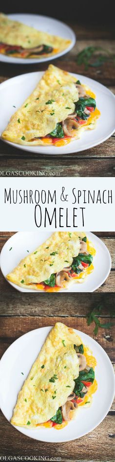 The most delicious and yummy mushroom & spinach omelet recipe! You won't believe how easy it is to make a fool proof omelet! Just follow these simple steps