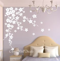 white cherry  blossom wall decals flower vinyl wall decals by cuma, $45.00 - beautiful wall decor for bedroom. Love it