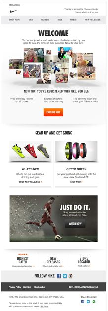 Nike welcome email 2014