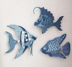 Fabric Toys, Fabric Art, Fabric Scraps, Denim Decor, Denim Art, Jean Crafts, Denim Crafts, Sewing Crafts, Sewing Projects