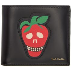 Paul Smith Black Strawberry Skull Wallet ($245) found on Polyvore featuring women's fashion, bags, wallets, black, mens skull wallet and paul smith mens wallet