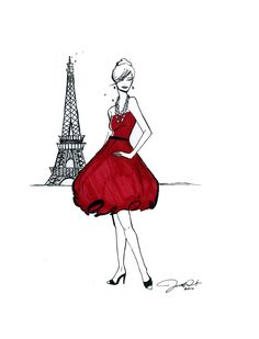 Parisian Fashion Illustration: Girl About Paris Print #dressmaking #calicolaine