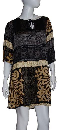 Hale Bob Dress NWT Sz Small Black Gold Pockets Silk Bell Sleeves Keyhole Front #HaleBob #Sheath