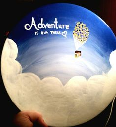 Disney Plate after it was put through the kiln. Disney's Up! Adventure is out there! Ombre Pottery painting the sky, free - hand painted letters. Painted at Thrown Elements pottery #CreativeTeacherPottery