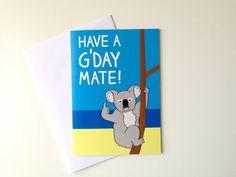 Koala Birthday Card, Australian Birthday card, Aussie bday card, funny koala card, Funny Aussie card, Have a G'day Mate card by hello DODO vie Etsy