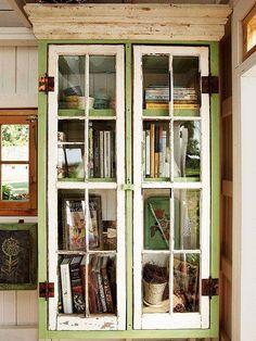Window frames on a book case. Love it.