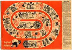 Jagd auf Kohlenklau (Hunt the Coal Thief)  Very rare propaganda board game print published by Lepthian-Schiffers in the 1930s that sought to promote economy in the use of raw materials in Germany.
