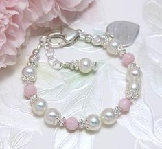 1beafc46a Delightful Pink Children's Bracelet. Faceted pink opals and white cultured  pearls make this so elegant