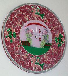 Horloge verre peint - motif suwer indien