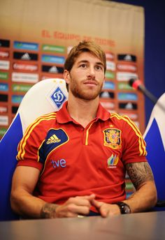 Sergio Ramos Photos Photos - Sergio Ramos of Spain listens to questions from the media during a press conference ahead of the UEFA EURO 2012 final match against Italy on June 29, 2012 in Kiev, Ukraine. - Spain Press Conference - UEFA EURO Final 2012