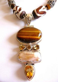 Bohemian tribal sterling and tiger eye by cherrylippedroses, $335.00