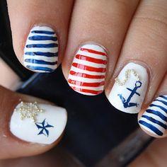 Nautical nails.. Cute