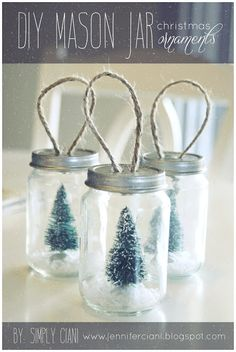 DIY mason jar ornament out of a little baby food jar and some fun accessories inside.  I would add a deer, bunny, etc.  to the tree.