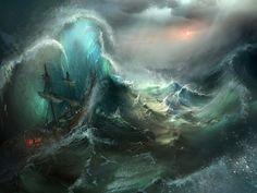 Stormy Seas by Tysen Johnson Landscape Artwork, Fantasy Landscape, Fantasy Paintings, Seascape Paintings, Stürmische See, Sea Drawing, Sea Storm, Stormy Sea, Sea Art
