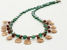 Green aventurine necklace red wine garnet necklace copper spiral swirl necklace handmade in Israel. $90.00, via Etsy.