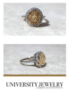Baylor University Class Seal Ring with a beautiful diamond base. made by University Jewelry --San Jose Jewelers. #bayloruniversity #sealrings #class #rings #sanjose #universityjewelry #universityrings #waco #womens