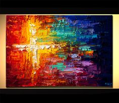 Original abstract art paintings by Osnat - colorful abstract cross