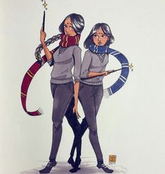 I believe this was the Patil Twins (since they were in different houses) if I remember the books correctly. If I'm not mistaken, Hermione mentioned they were in diff houses once -JoAnaTheGeek Fanart Harry Potter, Harry Potter Drawings, Harry Potter Fan Art, Harry Potter Universal, Harry Potter Fandom, Harry Potter World, Slytherin, Hogwarts, Fantastic Beasts