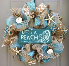 Life's a Beach Burlap Deco Mesh Wreath with by BeautifulMesh