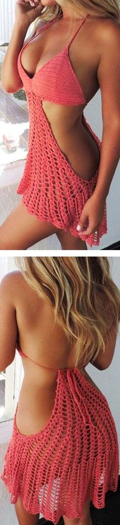 Coral Crochet Cover Up ❤︎   See more at http://www.spikesgirls.com