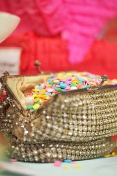 Gorgeous purse filled with confetti. Fun!