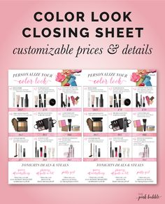 Mary Kay Personalize Your Look Color Look Set Sheet! Customize prices & sale detail! Find it only at www.thepinkbubble.co!