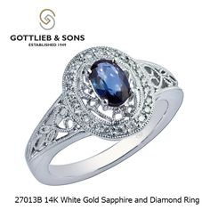 Bring home this majestic 14K White Gold #Sapphire and #Diamond ring from #GottliebandSons. This ring features elaborate scrollwork surrounding a deep #blue #oval sapphire. Visit your local #GottliebandSons retailer and ask for style number 27013B.