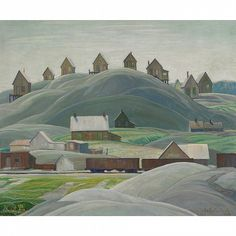 """""""Millhouses, West River,"""" Franklin Carmichael, 1930, oil on canvas, 8 x 10 1/4"""", private collection."""
