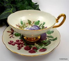Vintage Taylor & Kent Longton Fruit Plums Grapes Berries Tea Cup Saucer Set