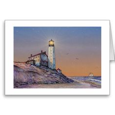"""A beautiful note card by the award-winning artist Paul McGehee. """"Cape Henlopen Lighthouse"""" depicts the famous Delaware lighthouse overlooking the Atlantic Ocean coastline over a century ago. The historic light was only the sixth beacon constructed in Colonial America, completed in 1767. After many years of standing watch over the coastline, the lighthouse collapsed during a storm in 1926 and was never rebuilt. Each card comes with envelope."""