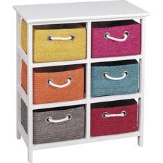 Petit meuble rangement meuble bois et 4 paniers en osier for Meuble bas avec panier osier