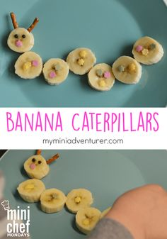 easy and cute banana caterpillar snack! Toddler Snacks, Fun Snacks For Kids, Kids Meals, Preschool Cooking, Cooking With Kids, Protein Shakes, Bug Snacks, Creative Snacks, Healthy Kids