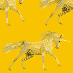 Virgo the Virginal Unicorn Goldenrod fabric by smuk on Spoonflower - custom fabric Textile Printing, Leather Material, Unicorns, Custom Fabric, Virgo, Spoonflower, Fabric Design, Craft Projects, Quilts