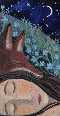 "This is a copy of an original painting on wood ""Stay Your Las Head"" by artist / illustrator Karen Davis. Fuchs Illustration, Fox Art, Whimsical Art, Art Plastique, Painting & Drawing, Illustrators, Fantasy Art, Art Photography, Original Paintings"