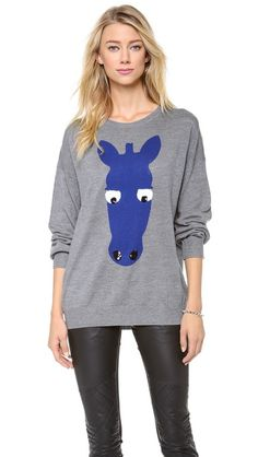 Markus Lupfer Zebra Head Sequin Intarsia Sweater