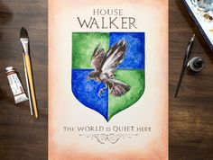 Game of Thrones Inspired Coat of Arms / Hand Drawn Custom